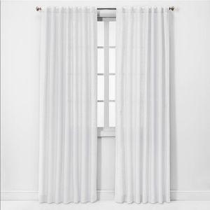 Threshold white linen light filtering curtain